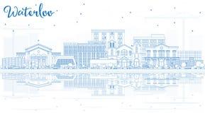 Skyline da cidade de Waterloo Iowa EUA do esboço com construções e R azuis Imagens de Stock