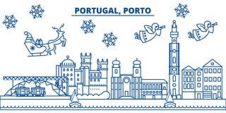 Skyline da cidade do inverno de Portugal, Porto Feliz Natal, feliz ilustração do vetor