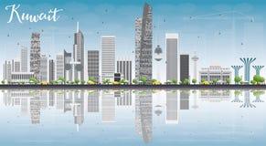 Skyline da Cidade do Kuwait com Gray Buildings, o céu azul e a reflexão ilustração stock