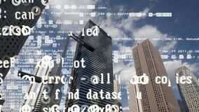 Skyline da cidade do Tóquio com código e dados foto de stock royalty free