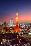 Skyline da cidade do Tóquio no por do sol Imagem de Stock