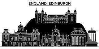 A skyline da cidade do vetor da arquitetura de Inglaterra, Edimburgo, arquitetura da cidade do curso com marcos, construções, iso ilustração royalty free