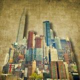 Skyline da cidade do vintage em tons do sepia fotografia de stock royalty free