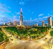 Skyline da cidade em Lotus Town Koreaseoul Coreia foto de stock royalty free
