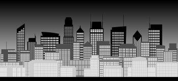 Skyline da cidade em preto e branco ilustração stock