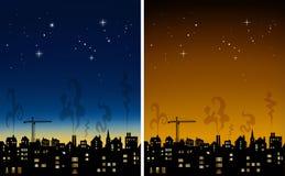 Skyline da cidade na ilustração da noite Fotos de Stock