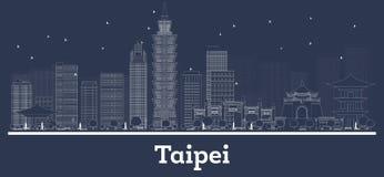 Skyline da cidade da república de Taipei Taiwan do esboço com construções brancas ilustração do vetor