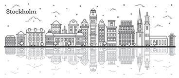 Skyline da cidade da Suécia de Éstocolmo do esboço com as construções históricas Imagem de Stock