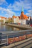 Skyline da cidade velha de Lubeque, Alemanha Fotos de Stock Royalty Free