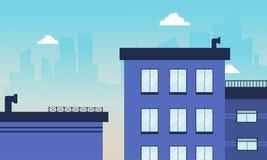 Skyline da construção da cidade da ilustração do vetor Foto de Stock Royalty Free