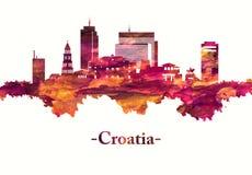 Skyline da Croácia no vermelho ilustração stock