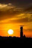 Skyline da fotografia da silhueta do por do sol Imagem de Stock Royalty Free