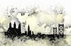Skyline da mancha de Philadelphfia em preto e branco Foto de Stock Royalty Free