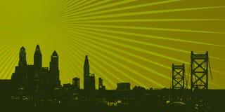 Skyline da mancha de Philadelphfia sobre raios verdes Fotografia de Stock