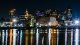 Skyline da noite de Boston Fotografia de Stock