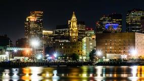 Skyline da noite de Boston Fotos de Stock