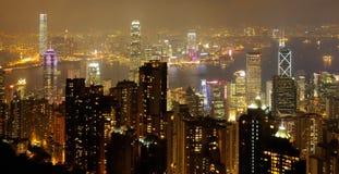 Skyline da noite de Hong Kong Imagens de Stock Royalty Free