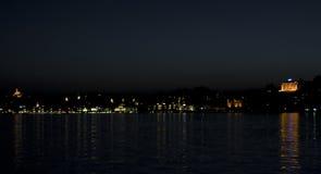 Skyline da noite de Lucerne Imagem de Stock Royalty Free