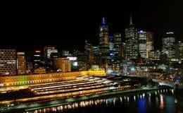 Skyline da noite de Melbourne Imagem de Stock Royalty Free