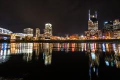 Skyline da noite de Nashville Imagens de Stock