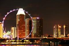 Skyline da noite de Singapura Fotos de Stock