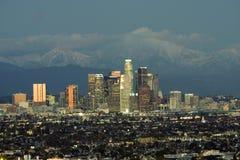Skyline da noite do LA Imagens de Stock Royalty Free