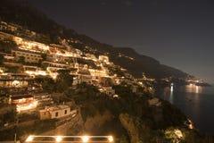 Skyline da noite, Positano, Italy Imagem de Stock Royalty Free