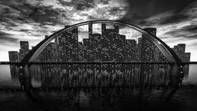 Skyline da ponte perto da cidade da noite Foto de Stock Royalty Free