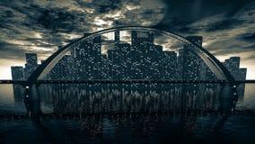 Skyline da ponte perto da cidade da noite Fotos de Stock