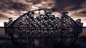 Skyline da ponte perto da cidade da noite Fotos de Stock Royalty Free