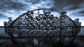 Skyline da ponte perto da cidade da noite Imagens de Stock Royalty Free