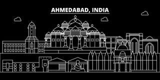 Skyline da silhueta de Ahmedabad Índia - cidade do vetor de Ahmedabad, arquitetura linear indiana, construções Curso de Ahmedabad ilustração royalty free