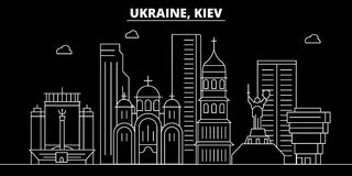 Skyline da silhueta de Kiev Cidade do vetor de Ucrânia - de Kiev, arquitetura linear ucraniana, construções Ilustração do curso d ilustração do vetor