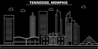 Skyline da silhueta de Memphis EUA - Cidade do vetor de Memphis, arquitetura linear americana, construções Curso de Memphis ilustração stock