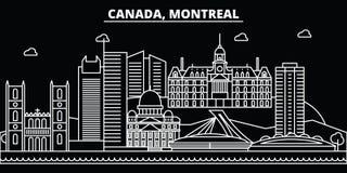 Skyline da silhueta de Montreal Cidade do vetor de Canadá - de Montreal, arquitetura linear canadense, construções Curso de Montr Fotografia de Stock Royalty Free