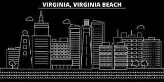 Skyline da silhueta de Virginia Beach EUA - cidade do vetor de Virginia Beach, arquitetura linear americana, construções virgínia ilustração royalty free