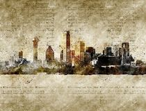Skyline of dallas in modern and abstract vintage look. Artprint Stock Photos