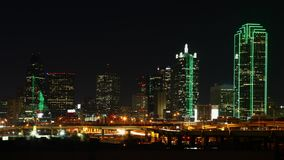 The skyline of Dallas, Texas at night Royalty Free Stock Photo