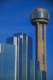 Skyline of Dallas, TX with Reunion Tower and Hyatt Hotel Royalty Free Stock Images