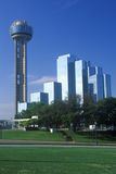 Skyline of Dallas, TX with Reunion Tower and Hyatt Hotel Stock Photos