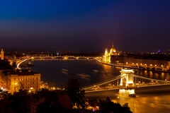 Skyline Danube Budapest Hungary night Royalty Free Stock Photography