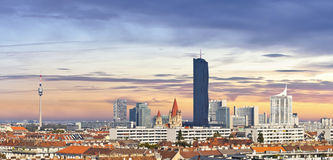 Skyline of the Danube City of Vienna Royalty Free Stock Image