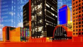 Skyline das zonas das docas de Londres com dados e código fotografia de stock royalty free