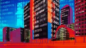 Skyline das zonas das docas de Londres com dados e código imagens de stock royalty free
