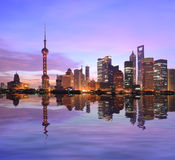 Skyline at dawn of Shanghai Huangpu River urban architecture Stock Photography