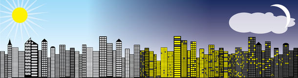 Skyline day night. Transition from day to night over a city skyline illustration Stock Photos