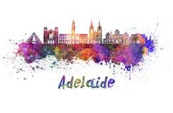 Skyline de Adelaide V2 na aquarela fotos de stock