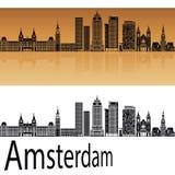 Skyline de Amsterdão V2 na laranja ilustração royalty free
