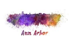 Skyline de Ann Arbor na aquarela ilustração royalty free