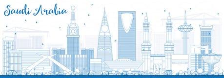 Skyline de Arábia Saudita do esboço com marcos azuis Fotos de Stock Royalty Free